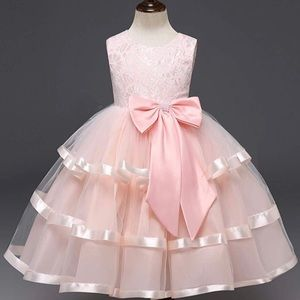 Other - 🎀New Pink Satin White Lace Princess Pageant Dress